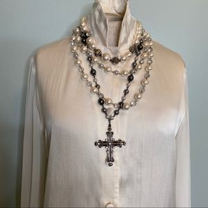 Faux Pearl Necklaces with Silver Cross